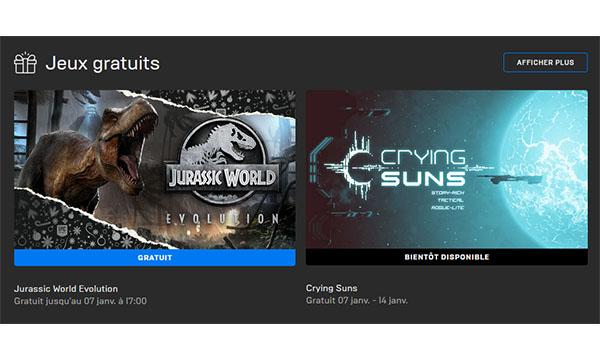 Epic Games offre le jeu Jurassic World Evolution jusqu'au 7 janvier