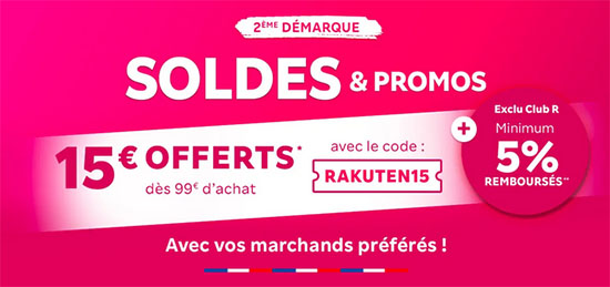 Soldes : Rakuten offre aujourd'hui 15€ de remise dès 99€ d'achats