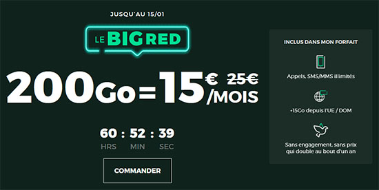 Bon Plan : l'opérateur Red By SFR propose un forfait 4G incluant 200 Go de DATA à 15€ par mois