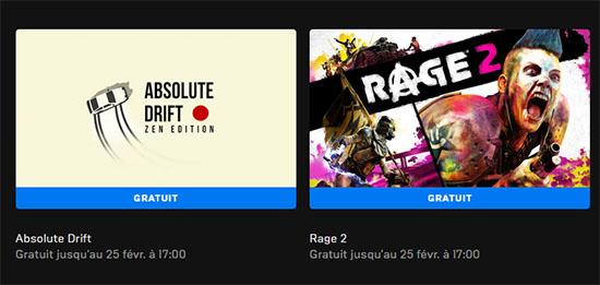 Deux jeux gratis sur l'Epic Games Store : Absolute Drift et Rage 2