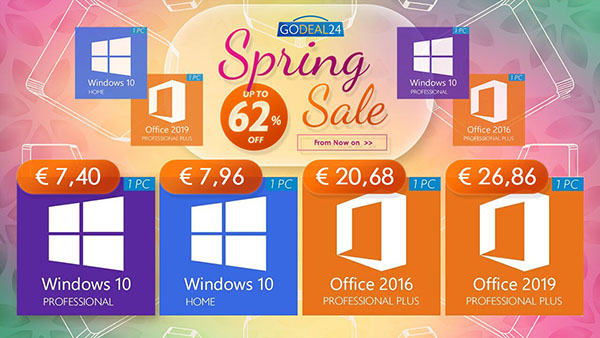 Promo du printemps sur les licences de logiciels : Windows 10 Pro à 7,40 €, Office 2019 à 26,86 € et une flopée d'offres limitées !