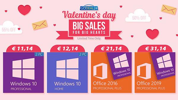 Promo spéciale pour la Saint-Valentin, achetez en couple et économisez plus, Windows 10 disponible dès 5€