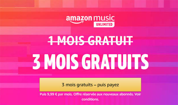 Bon Plan : 3 mois d'abonnement offerts à Amazon Music Unlimited